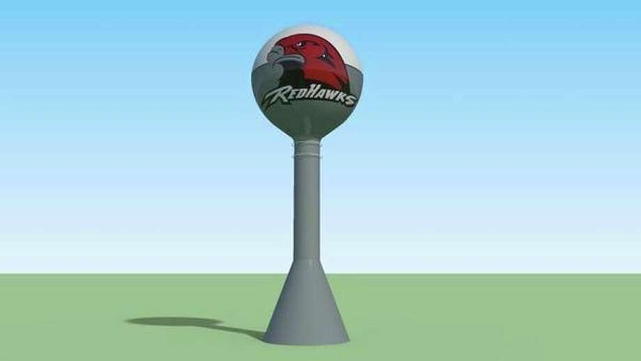 There are three possible water tower designs, including this design, which incorporates the school district's mascot. (Courtesy Photo)