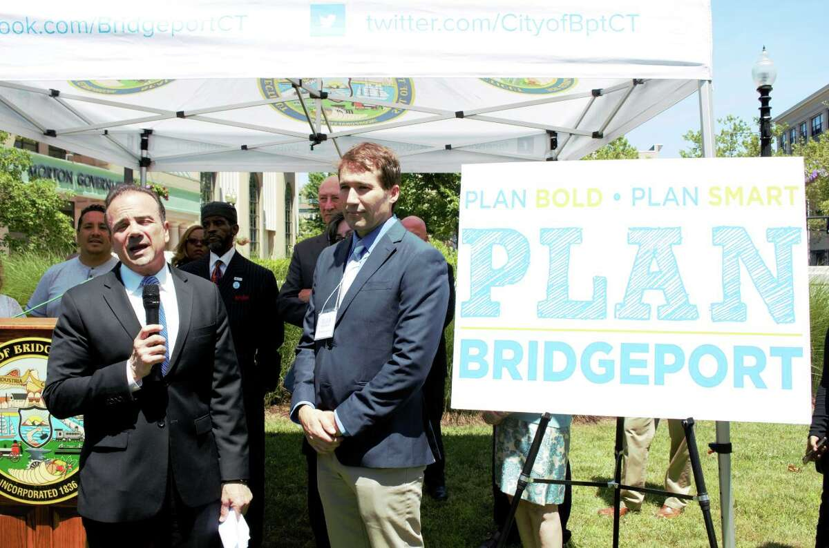 (Left to Right) Bridgeport mayor Joe Ganim and Francisco Gomes, senior project manager at Fitzgerald & Halliday, Inc., during announcement of six month process to update the city Master Plan of Conservation and Development in 2018. The city has launch a new initiative focused on rewriting zoning codes to facilitate development goals featured in the master plan.