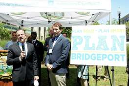 (Left to Right) Bridgeport mayor Joe Ganim and Francisco Gomes, senior project manager at Fitzgerald & Halliday, Inc., during announcement of six month process to update the city Master Plan of Conservation and Development.