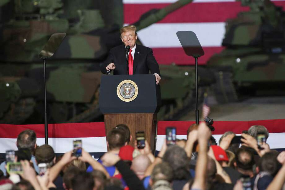 U.S. President Donald J. Trump speaks at the Joint Systems Manufacturer on March 20 in Lima, Ohio. Trump visited the northeastern Ohio defense manufacturing plant to discuss his successes in the economy, job growth, John McCain, and ISIS. Photo: Andrew Spear / Getty Images / 2019 Getty Images