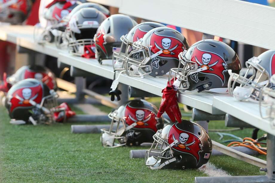 CINCINNATI, OH - AUGUST 11: Tampa Bay Buccaneers helmets sit on the bench during the preseason game against the Tampa Bay Buccaneers and the Cincinnati Bengals at Paul Brown Stadium on August 11th, 2017 in Cincinnati, Ohio. The Bengals defeated the Buccaneers 23-12. (Photo by Ian Johnson/Icon Sportswire via Getty Images) Photo: Icon Sportswire/Icon Sportswire Via Getty Images