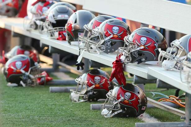CINCINNATI, OH - AUGUST 11: Tampa Bay Buccaneers helmets sit on the bench during the preseason game against the Tampa Bay Buccaneers and the Cincinnati Bengals at Paul Brown Stadium on August 11th, 2017 in Cincinnati, Ohio. The Bengals defeated the Buccaneers 23-12. (Photo by Ian Johnson/Icon Sportswire via Getty Images)