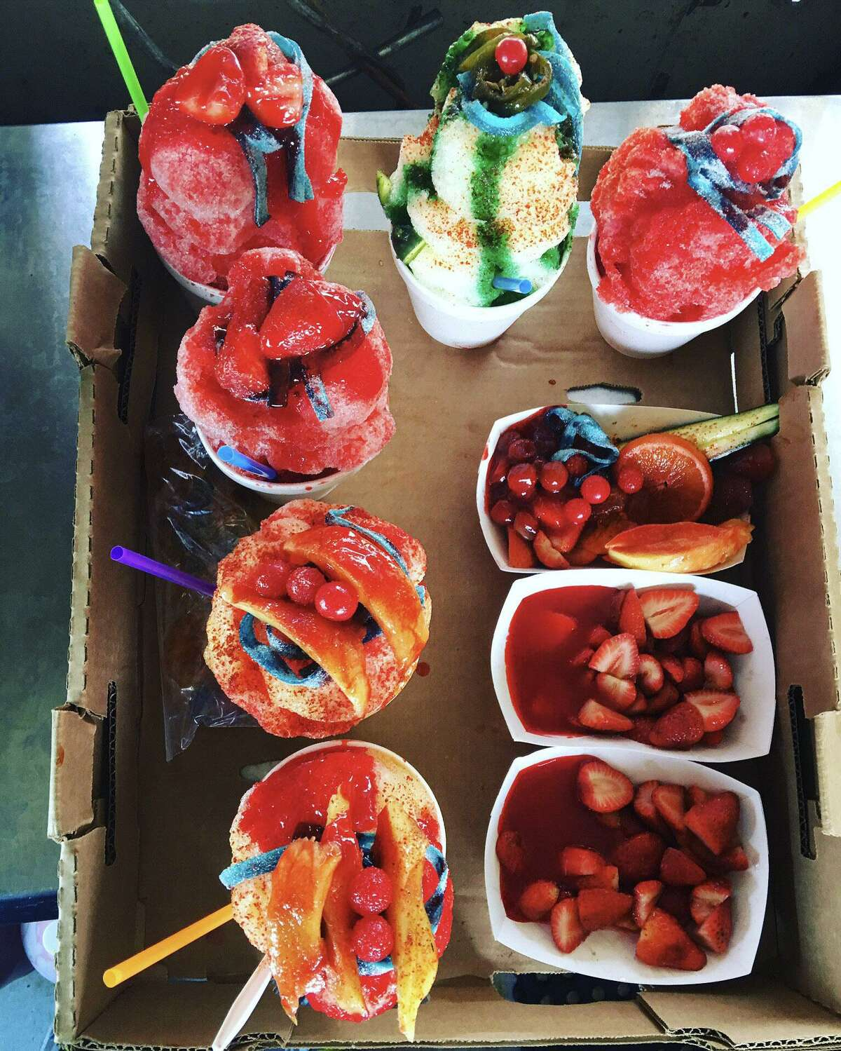 A selection of raspas and fruit from Chamoy City Limits