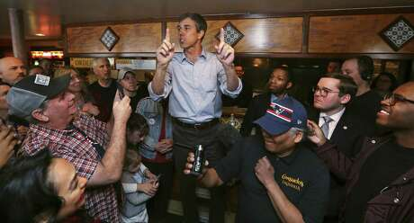 Former Texas congressman Beto O'Rourke addresses a gathering during a campaign stop at a restaurant in Manchester, N.H., Thursday, March 21, 2019. O'Rourke announced last week that he'll seek the 2020 Democratic presidential nomination.