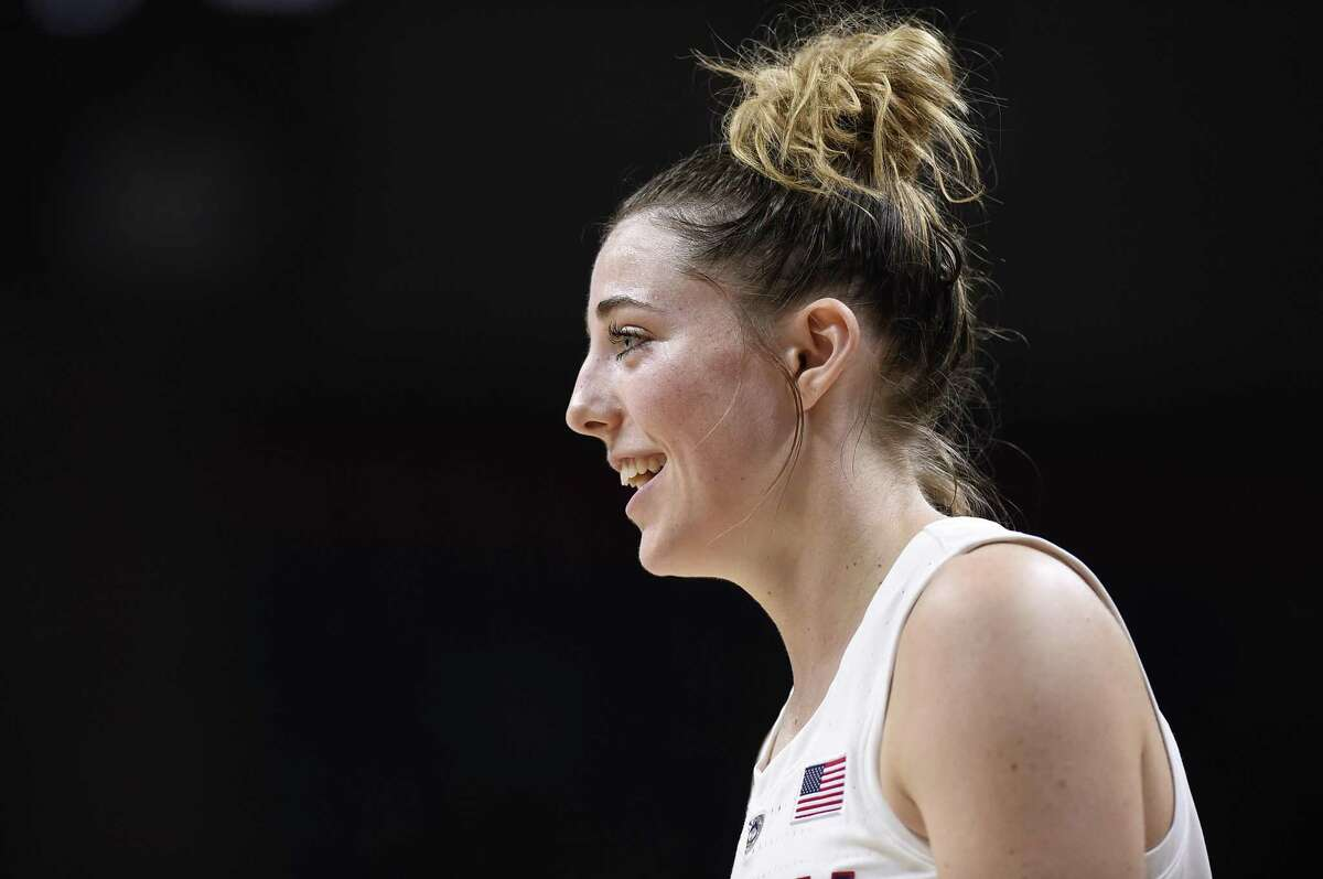 Connecticut's Katie Lou Samuelson during the second half of an NCAA exhibition women's college basketball game in Storrs, Conn., Sunday, Nov. 4, 2018. (AP Photo/Jessica Hill)