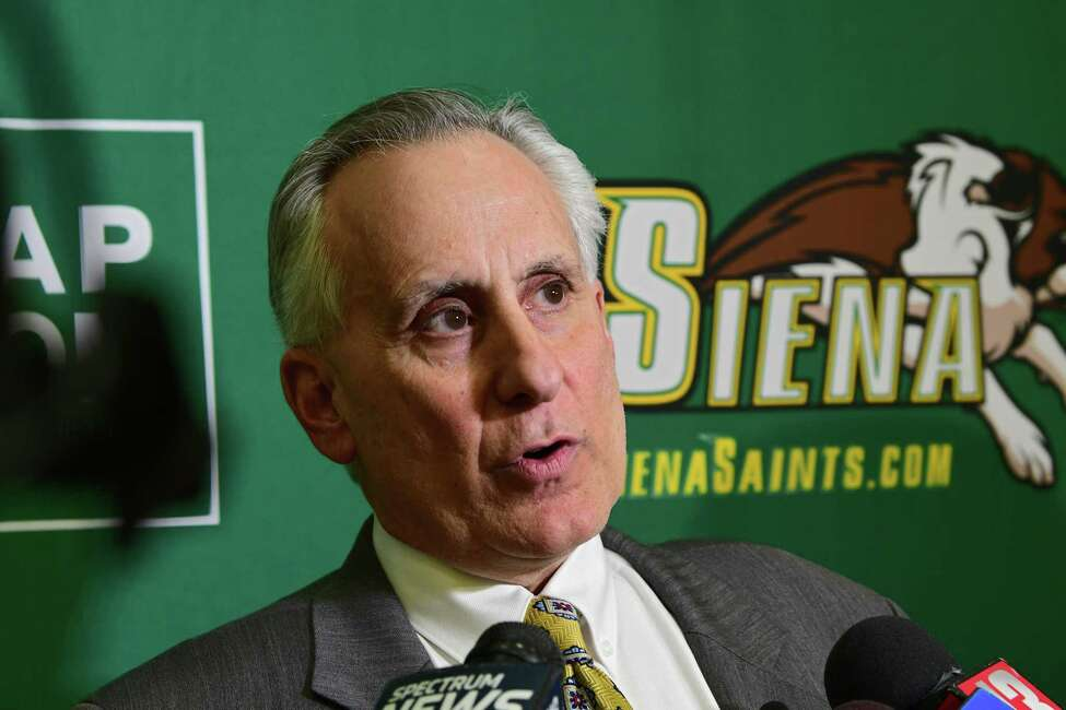 John D'Argenio, Siena College vice president and director of athletics, announces Siena men's basketball coach Jamion Christian is leaving after just one season on Thursday, March 21, 2019 in Loudonville, N.Y. Jamion is leaving to coach at George Washington University. (Lori Van Buren/Times Union)