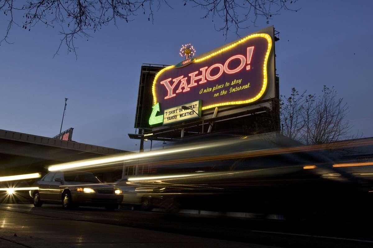 Cars drive down 6th Street past a Yahoo! billboard February 1, 2008 in San Francisco, California.