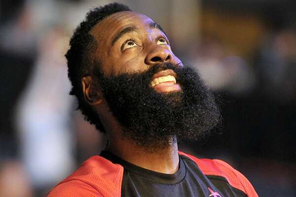Houston Rockets guard James Harden stands on the court before an NBA basketball game against the Memphis Grizzlies Wednesday, March 20, 2019, in Memphis, Tenn. (AP Photo/Brandon Dill)