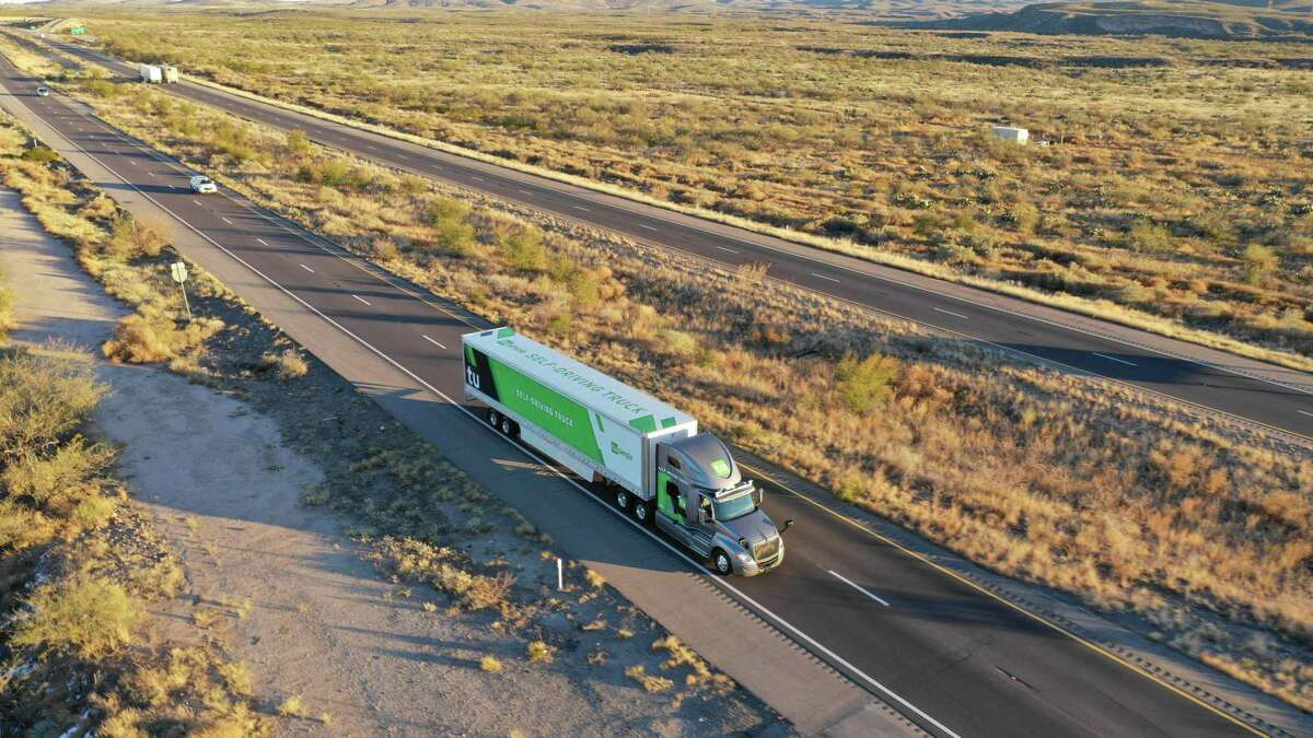 Handout images of semi-trucks using self-driving software developed by Tu-Simple, a California start-up. The company plans to expand its fleet to 50 trucks and begin hauling commercial loads from Tuscon, Arizona to San Antonio and Houston.