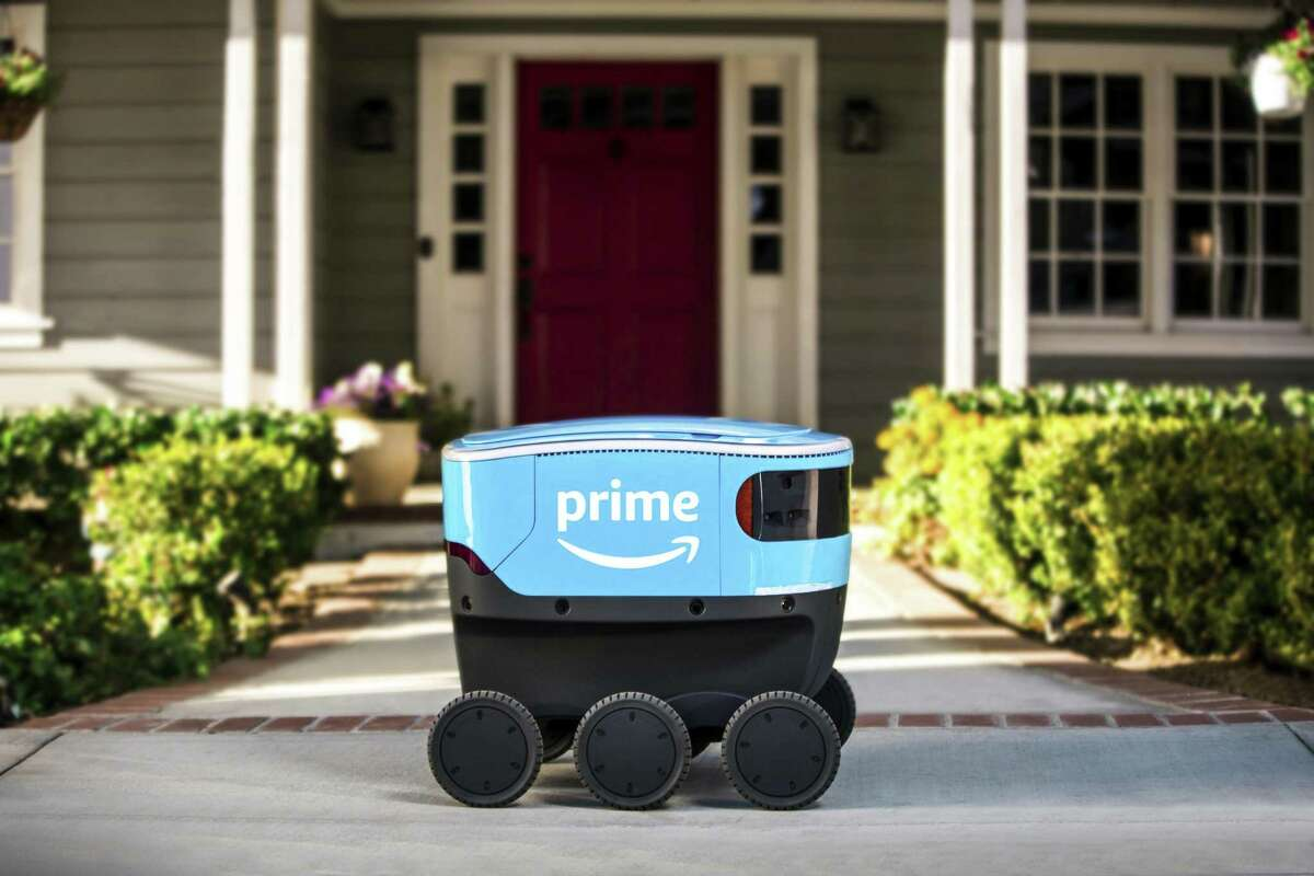 Amazon's Scout is a delivery robot the company is testing. It will deliver packages to customers' doorsteps.