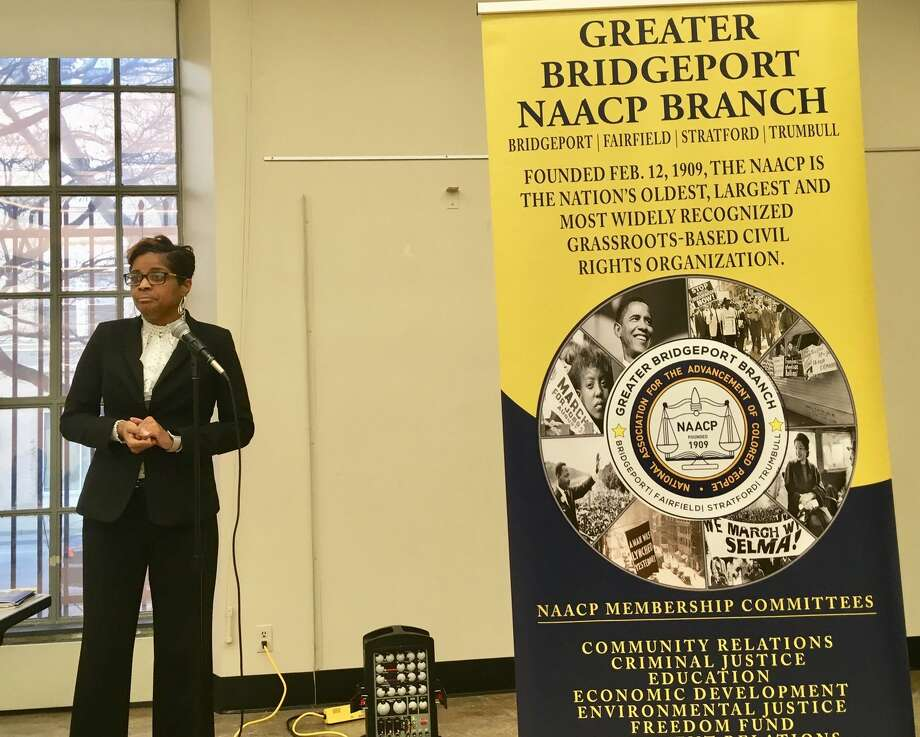 Bridgeport Schools Superintendent Aresta Johnson speaks at a community budget forum sponsored by the NAACP at the Bridgeport Library. Tuesday, March 19, 2019 Photo: Linda Conner Lambeck