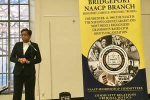 Bridgeport Schools Superintendent Aresta Johnson speaks at a community budget forum sponsored by the NAACP at the Bridgeport Library. Tuesday, March 19, 2019
