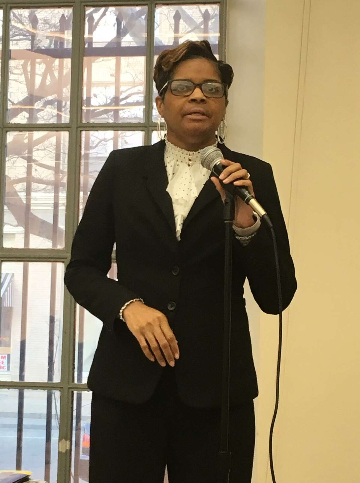 Bridgeport Schools Superintendent Aresta Johnson speaks at a community school budget forum hosted by the NAACP at the Bridgeport Library on March 19.
