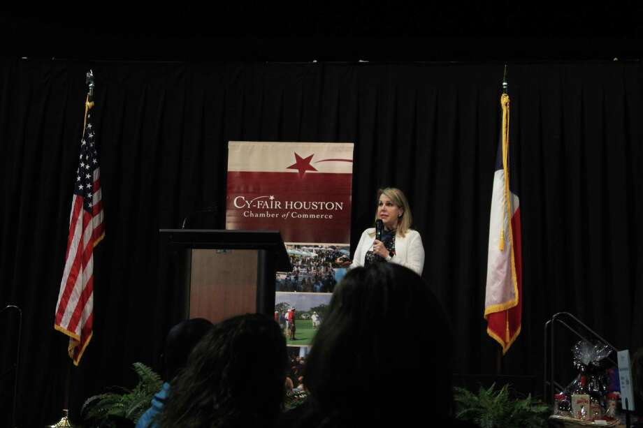 Carrin Patman, chair of METRO, spoke to a crowd of Cy-Fair Houston Chamber of Commerce about the future improvements METRO has planned for the greater Houston area Photo: Chevall Pryce