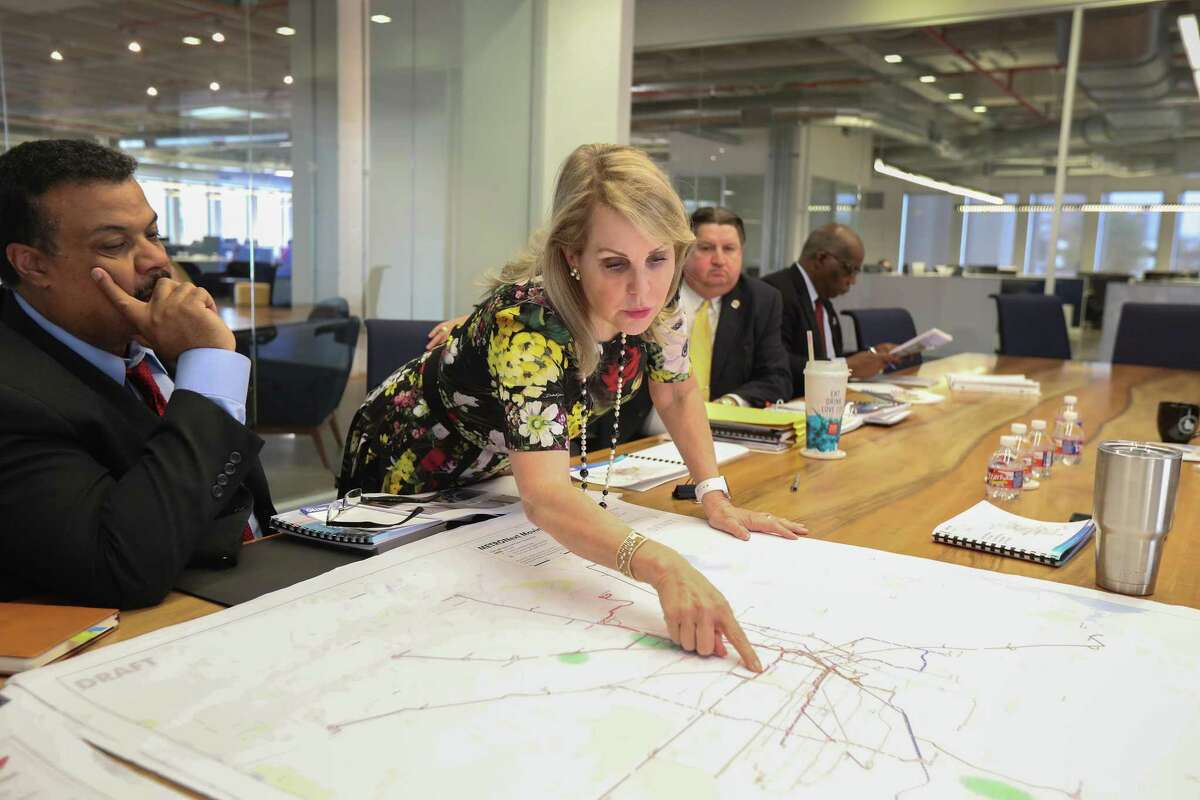 Carrin Patman, chairwoman of Metro points to a MetroNext map at the Houston Chronicle Thursday, Jan. 10, 2019, in Houston.