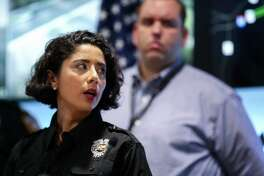 Harris County Judge Lina Hidalgo talks about the air quality in east Harris County during a press conference at TranStar Thursday, March 21, 2019, in Houston. A shelter-in-place has been called for Deer Park, Texas, where the ITC petrochemical fire burned for three days.