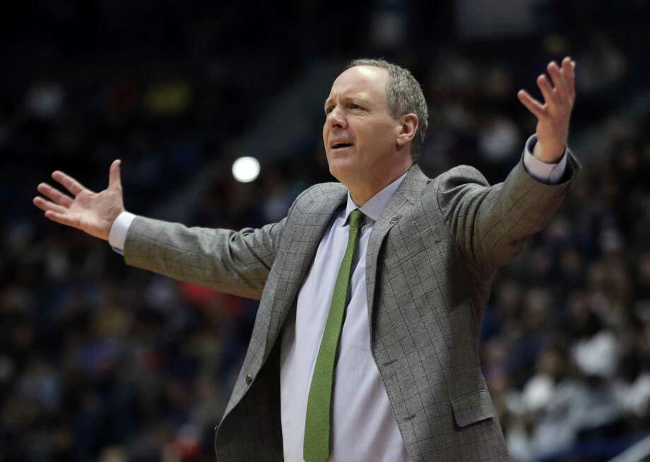 Vermont coach John Becker gestures during a 76-69 first-round loss to Florida State at the XL Center in Hartford. Photo: Elise Amendola / Associated Press / Copyright 2019 The Associated Press. All rights reserved