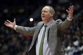 Vermont coach John Becker gestures during a 76-69 first-round loss to Florida State at the XL Center in Hartford.