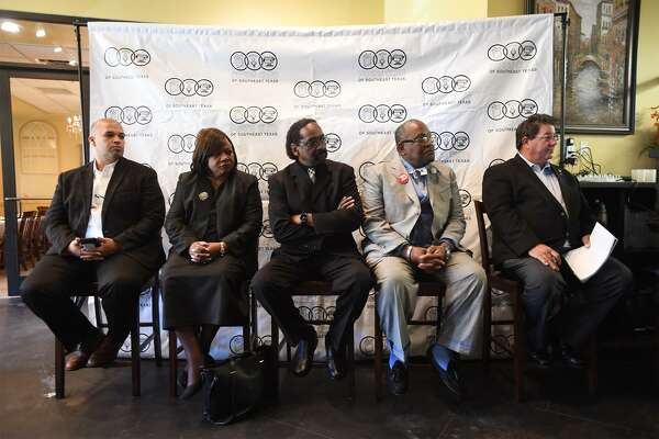 From left, Derrick Freeman, Lowra Harrison, William Lewis, Thurman Bartie and Charles Vincent during the Southeast Texas Press Club's forum for the Port Arthur mayoral election. Photo taken Thursday, 3/21/19