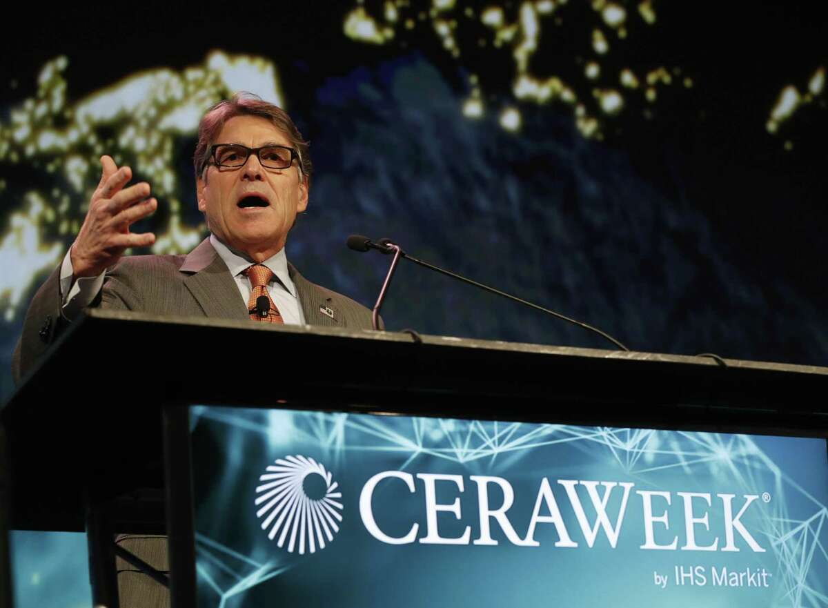 Energy Secretary Rick Perry speaks at the CERAWeek conference at the Hilton Americas in Houston on March 7, 2018.