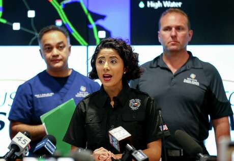 Harris County Judge Lina Hidalgo talks about the air quality during a press conference on March 21, 2019, after the ITC petrochemical plant fire had burned for three days.