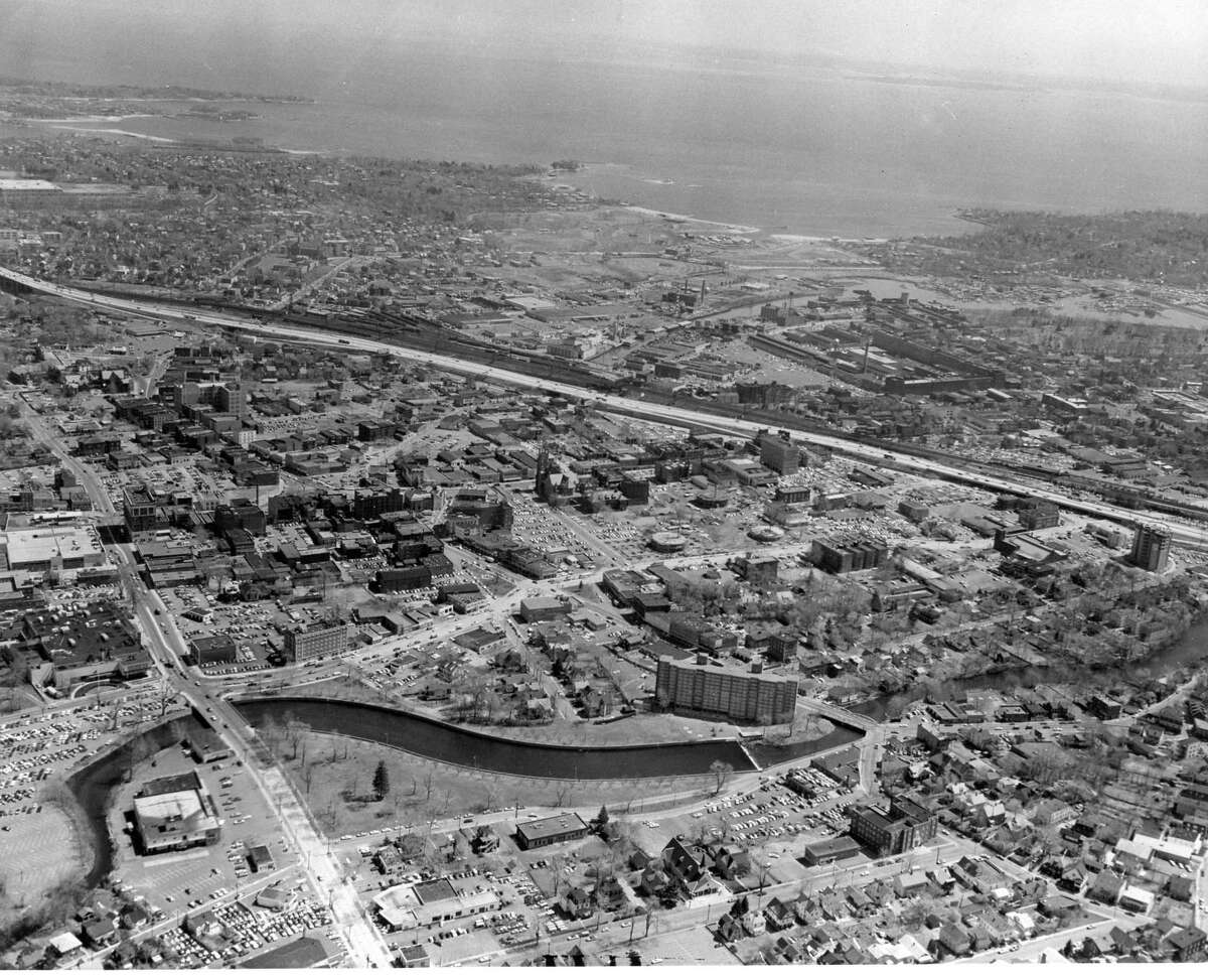 An aerial photo of Stamford, Conn. taken soon after F.D. Rich Co. began building in 1969. In the middle, the three small circles are the beginnings of the St. John cylindrical towers.