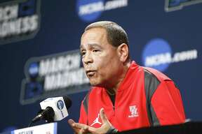 Houston Cougars head coach Kelvin Samspon talks to the media before the team's open practice at BOK Center on Wednesday, March 21, 2018 in Tulsa. The Cougars are taking on Georgia State University Panthers in the first round of NCAA Men's Tournament on Friday.