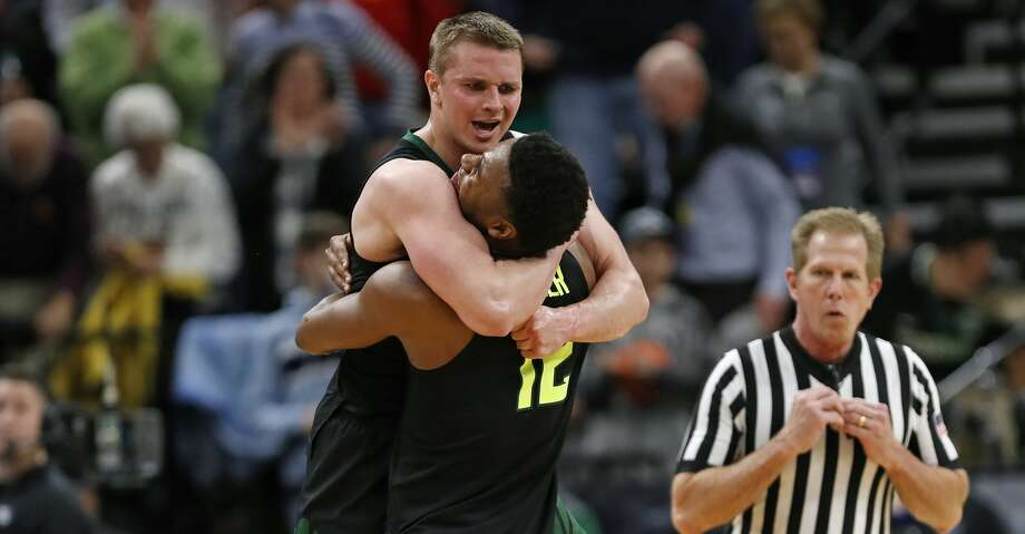 Baylor guard Makai Mason, left, and guard Jared Butler (12) celebrate the team's win against Syracuse in a first-round game in the NCAA men's college basketball tournament Thursday, March 21, 2019, in Salt Lake City. (AP Photo/Jeff Swinger) Photo: Jeff Swinger/Associated Press