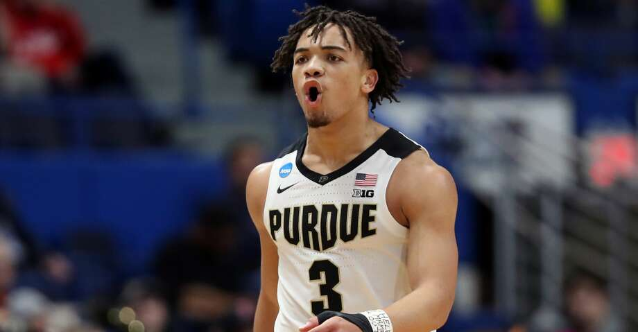 HARTFORD, CONNECTICUT - MARCH 21: Carsen Edwards #3 of the Purdue Boilermakers reacts after a play in the second half against the Old Dominion Monarchs during the 2019 NCAA Men's Basketball Tournament at XL Center on March 21, 2019 in Hartford, Connecticut. (Photo by Rob Carr/Getty Images) Photo: Rob Carr/Getty Images
