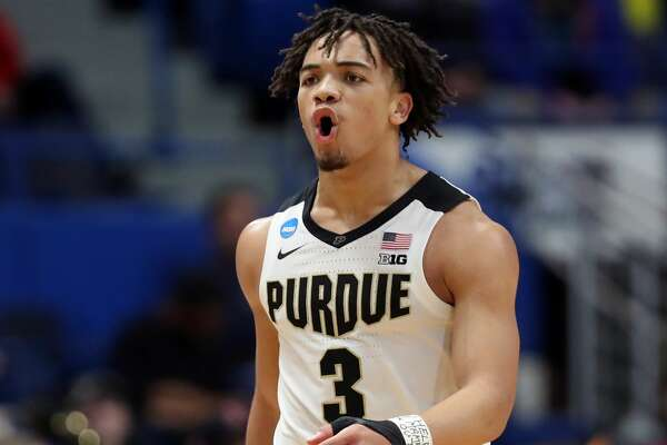 HARTFORD, CONNECTICUT - MARCH 21: Carsen Edwards #3 of the Purdue Boilermakers reacts after a play in the second half against the Old Dominion Monarchs during the 2019 NCAA Men's Basketball Tournament at XL Center on March 21, 2019 in Hartford, Connecticut. (Photo by Rob Carr/Getty Images)