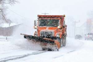 A state plow along Ella Grasso Boulevard in New Haven.