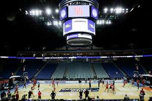 University of Houston's Men's basketball team practices at BOK Center on Thursday, March 21, 2019 in Tulsa. The Cougars are taking on Georgia State University Panthers in the first round of NCAA Men's Tournament.