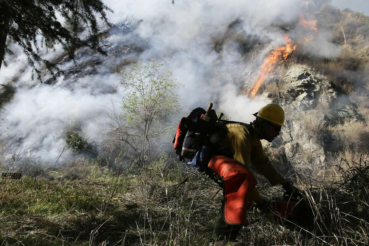FILE - In this Jan. 17, 2014 file photo, a firefighter clears brush as firefighters continues to battle the Colby Fire near Azusa, Calif. California is calling in the National Guard for the first time to help protect communities from wildfires like the one that destroyed much of the city of Paradise last fall. The state is pulling the troops away from President Donald Trump's border protection efforts and devoting them to fire protection, another area where the president has been critical of California officials. (AP Photo/Jae C. Hong, File)