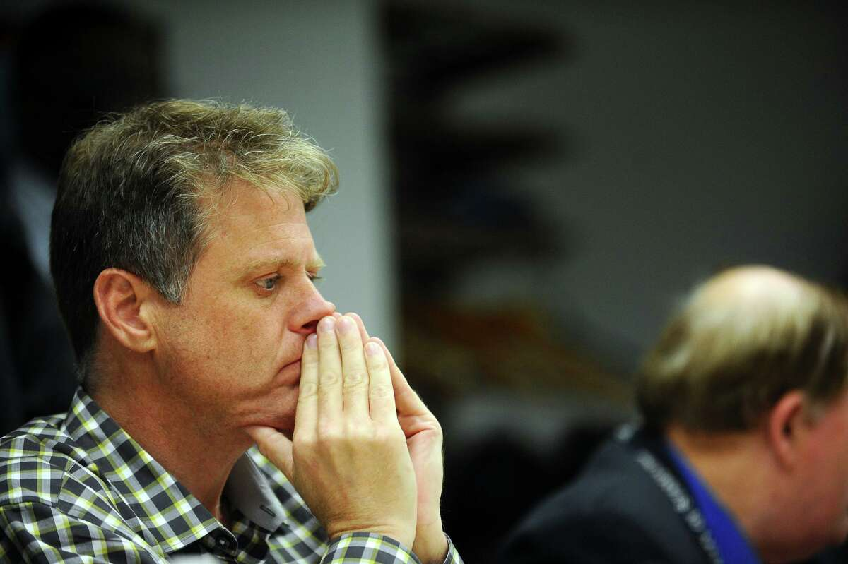 Board of Representatives' Land Use Committee member Kieran Ryan, R-1, listens to his fellow board members during a meeting inside Government Center in Stamford, Conn. on Wednesday, May 31, 2017. The committee discussed a possible ban on new construction of multi-family homes.