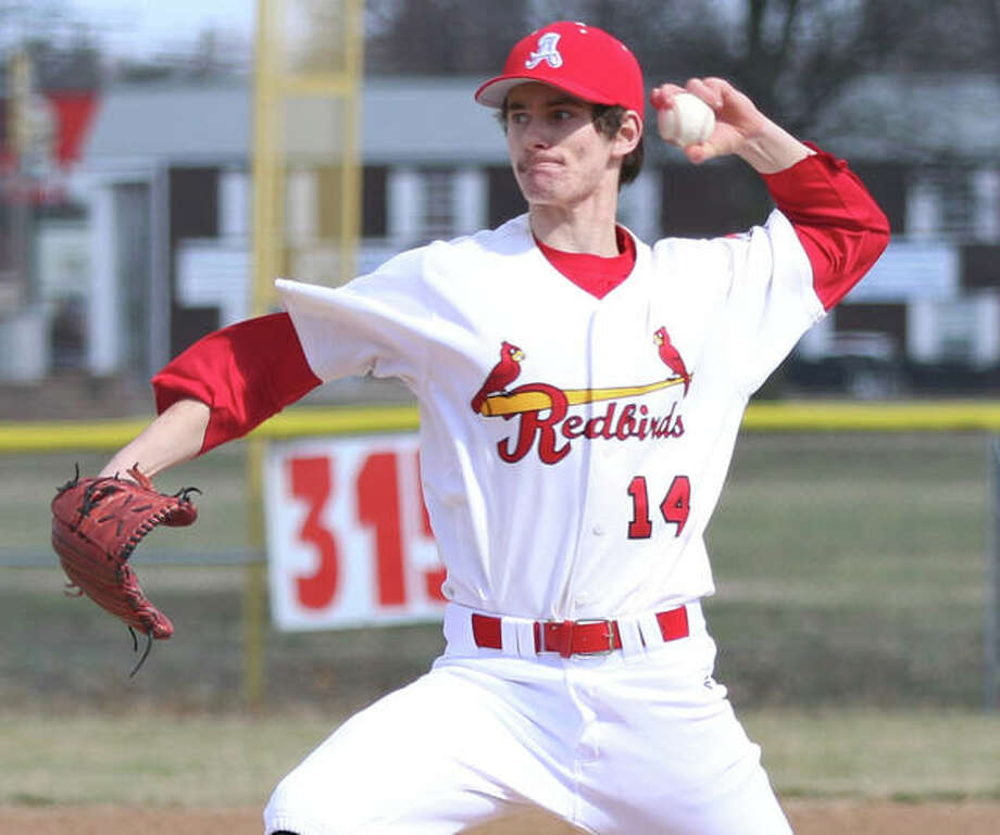 Alton's Michael Reeder, shown pitching last Friday against Lockport in Granite City, got another start Thursday and could not overcome Southwestern's four-run first inning and took the loss in a 4-3 defeat at Schneider Park in Brighton. Photo: Greg Shashack / The Telegraph