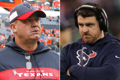 After going without an offensive coordinator the past two seasons, Texans head coach Bill O'Brien elevated tight ends coach Tim Kelly, right, to the OC role this offseason.