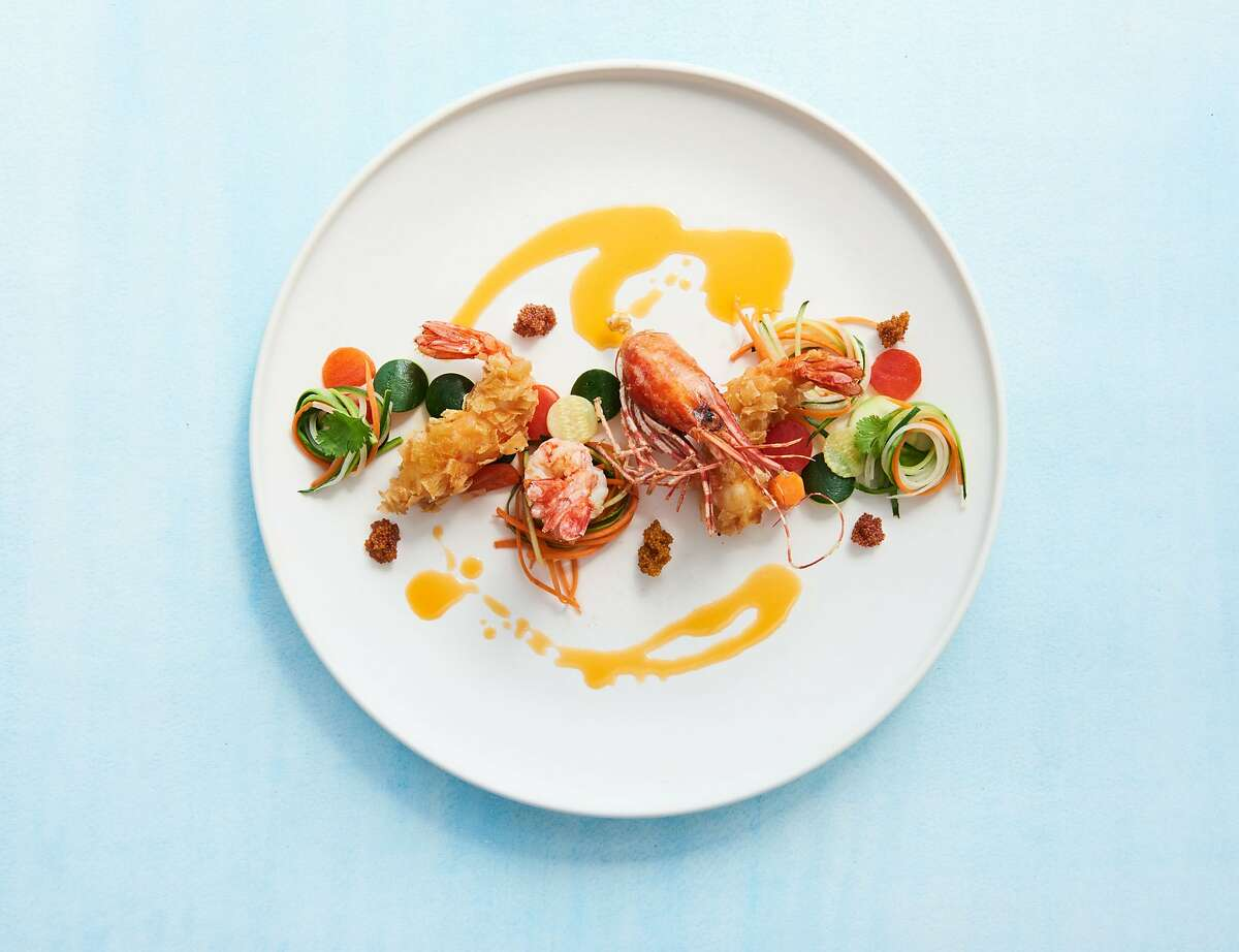 Spot prawns at Palette, a restaurant and art gallery in SoMa.