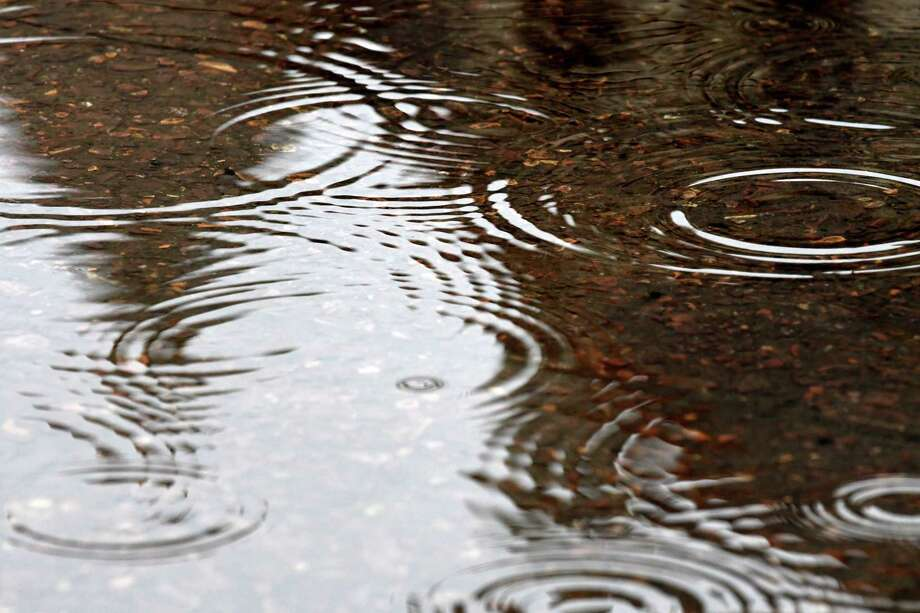 Raindrops decorate a puddle. (Will Waldron/Times Union) Photo: Will Waldron, Albany Times Union