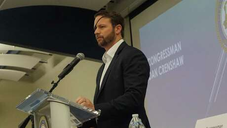 Congressman Dan Crenshaw addresses the crowd at the Capital Improvement Project town hall March 21, 2019 in Kingwood, TX.
