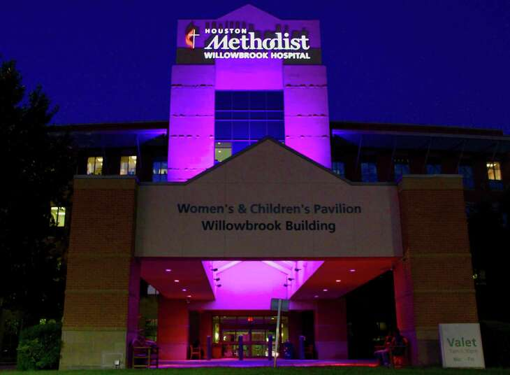 The Women and Children's Pavilion and North Pavilion are lit pink this month at Houston Methodist Willowbrook Hospital in honor of Breast Cancer Awareness Month.