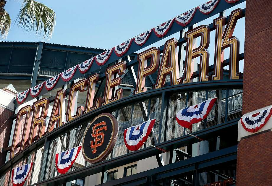 The first, most obvious change to the ballpark? The name. AT&T Park is now Oracle, and a sign at Willie Mays Plaza now reflects that. Pictured: The new Oracle Park sign is installed above the Willie Mays Gate at the Giants' ballpark in San Francisco on Thursday, March 21, 2019. Photo: Paul Chinn / The Chronicle