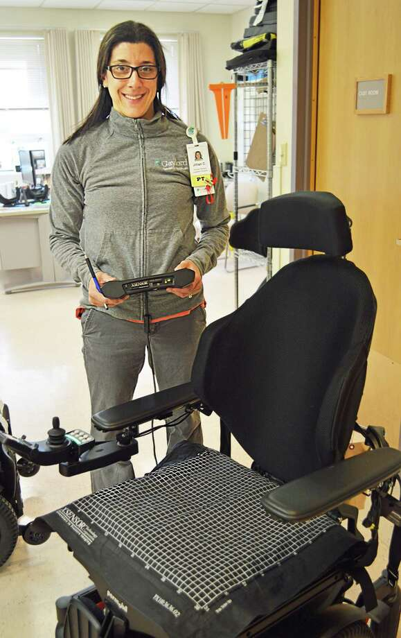 Gaylord Hospital wheelchair assessment expert Jillian Cacopardo of Portland recently earned exclusive certification as a seating and mobility specialist. Photo: Contributed Photo