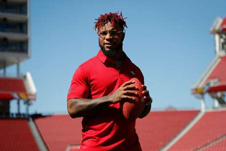 Free agent Kwon Alexander poses for a portrait after signing with the 49ers at Levi's Stadium on Thursday, March 14, 2019, in Santa Clara, Calif.