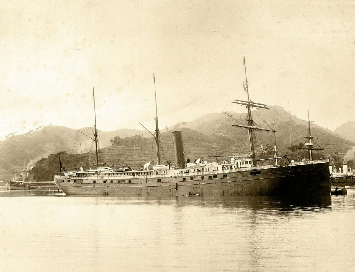 SS City of Rio de Janeiro built by John Roach & Son in 1878 at Chester, Penn. regularly transported passengers and cargo between Asia and San Francisco, photo taken at Nagasaki, Japan, 1894.