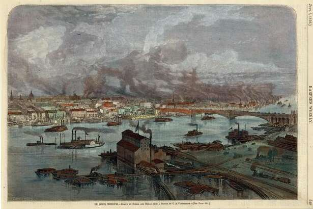 Color image of St. Louis in 1876 by Schell Hogan.