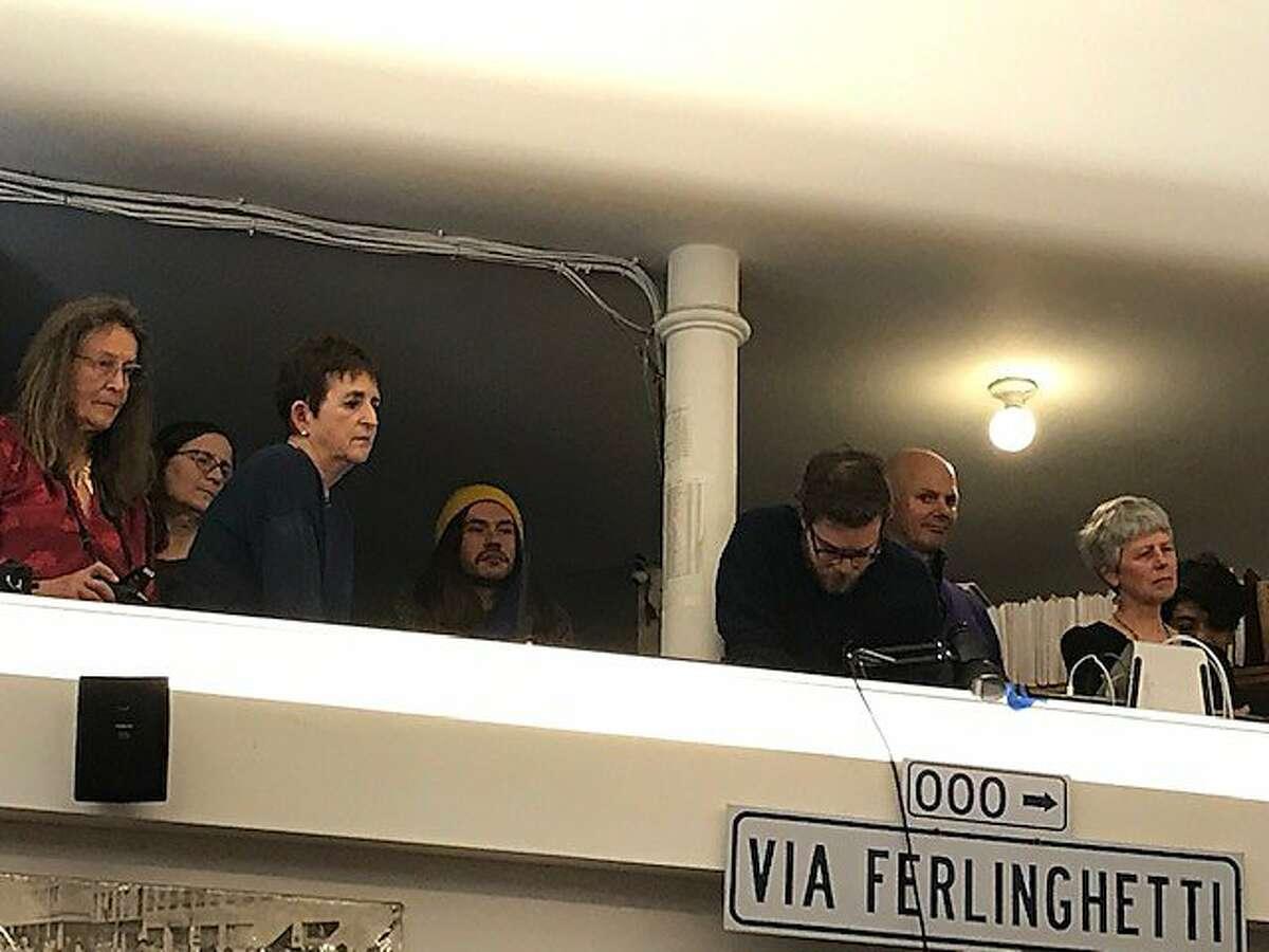 Crowd on balcony at City Lights reading of Ferlinghetti novel