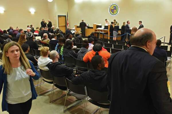 People wait for their case to be called at night court at Colonie Justice Court on Wednesday, March 6, 2019 in Latham, N.Y. (Lori Van Buren/Times Union)