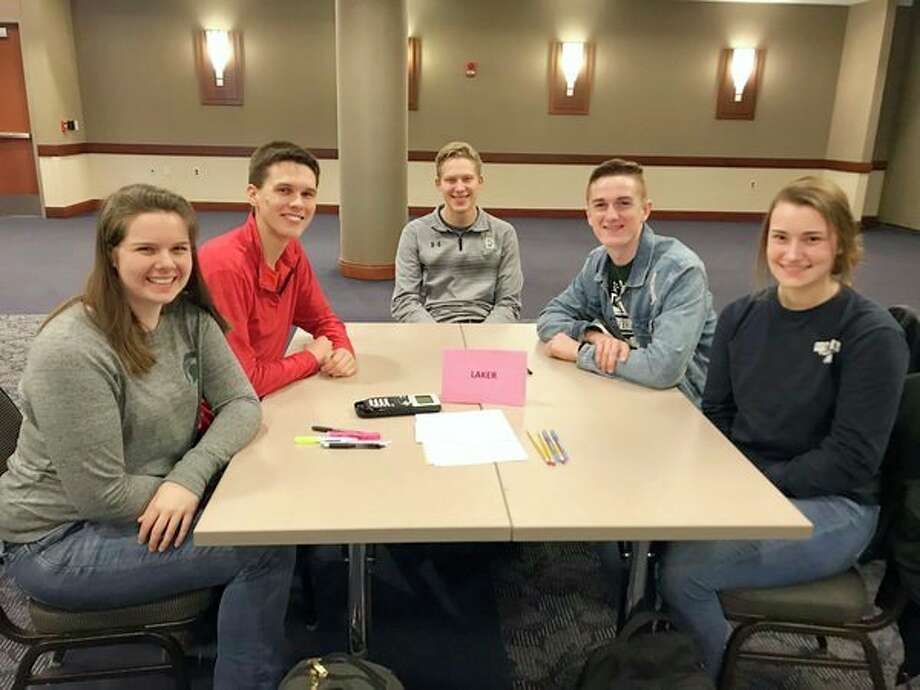 The Laker Science team won second place at the Saginaw Valley State University Academic Games. The team includes Clara Tait, Andrew Smith, Hunter Keim, Josh Swathwood and Meleah Timmons. In addition to answering questions on all areas of science, the students wrote an amazing letter to a politician related to global warming and the loss of polar bears. Laker High School science teacher Deb Hasselschwert is the science team coach. The Laker Tech team and Laker Math team also did a fine job at the competition. (Submitted Photo)