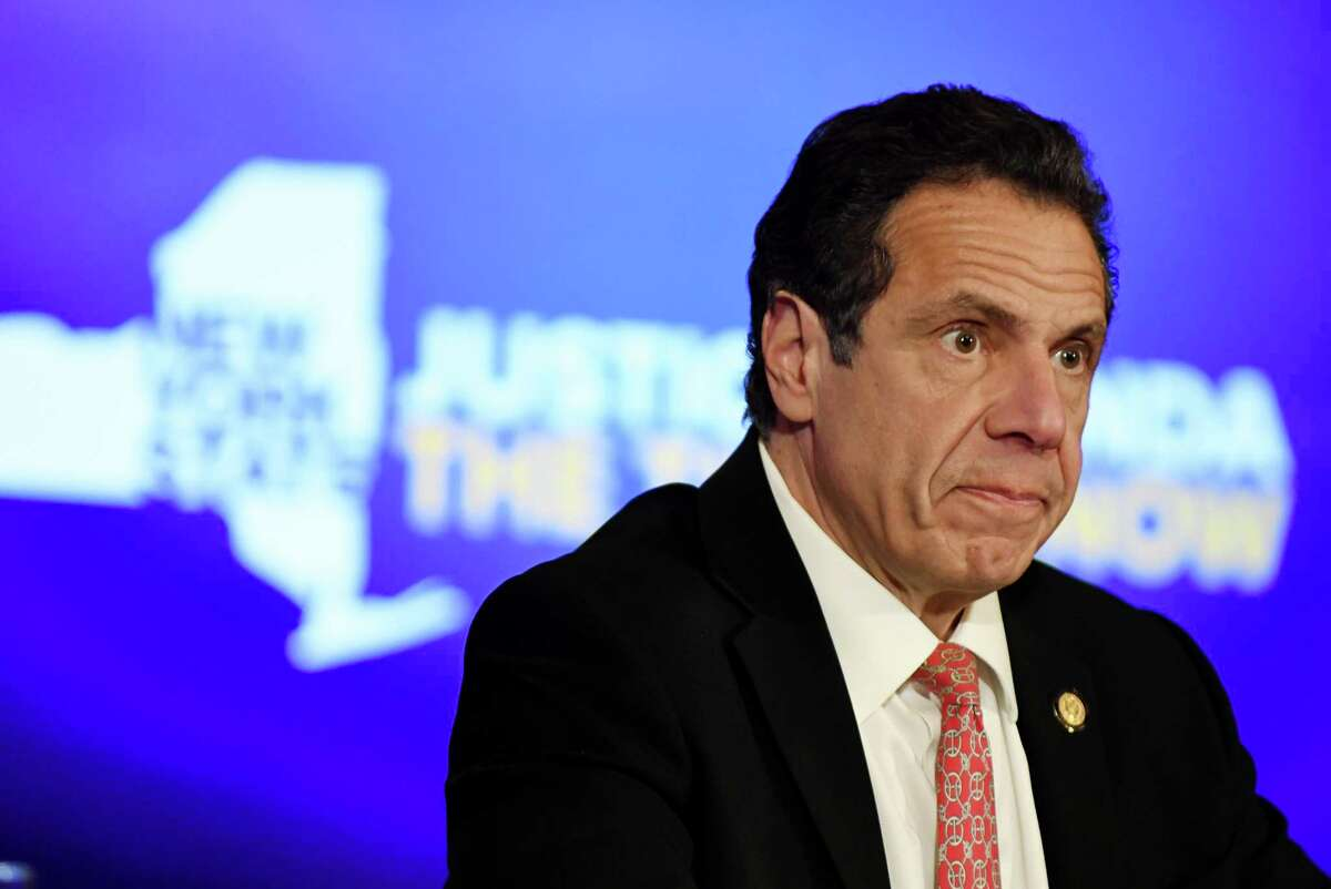 Gov. Andrew Cuomo speaks during a Red Room press conference where he condemned what authorities described as a hate crime on Friday, March 22, 2019, at the Capitol in Albany, N.Y. State Police arrested William Sullivan, 21, of Saugerties following an incident that occurred on March 11 in Ulster. A female employee at Mother?•s Earth?•s Storehouse, who is Jewish, reported that she was subject to anti-Semitic behavior. (Will Waldron/Times Union)
