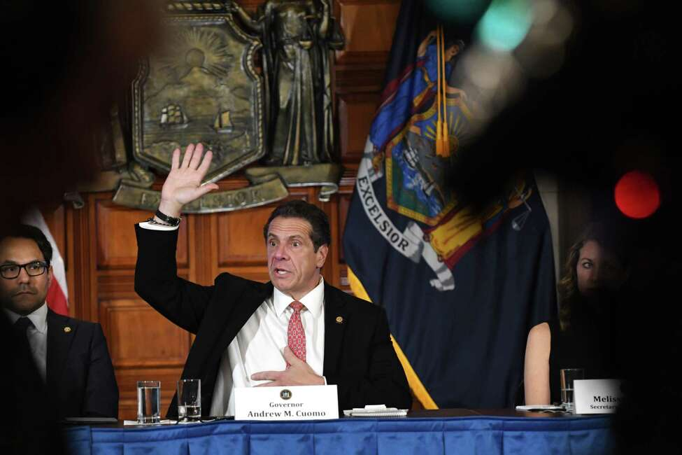 Gov. Andrew Cuomo fields questions on the budget during a Red Room press conference on Friday, March 22, 2019, at the Capitol in Albany, N.Y. The governor held the event to condemn an alleged hate crime that took place on March 11 in Ulster. (Will Waldron/Times Union)